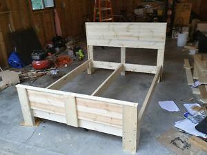Double sized bed with solid spruce wood