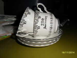 Royal Stafford cups and saucers 25th Anniversay Silver Wedding
