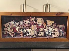Oak framed teddy bear picture