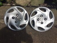 2 x Peugeot 206 14 inch Wheel Trims for Tyres , in excellent condition