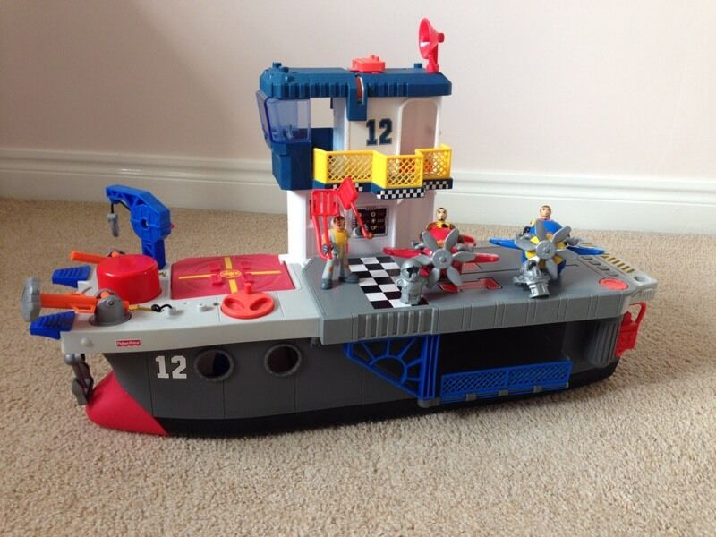 Fisher Price Imaginext Aircraft Carrier Ship Helicopter