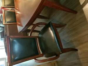 Mahogany Dining Table with 6 High Back Leather Chairs
