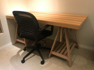 IKEA Large Desk & Height-Adjustable Mesh Office Chair
