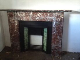 Antique rouge royal marble fireplace