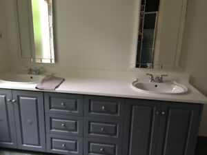 Bathroom cabinet and two sinks with taps available immediately