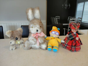 4 Asst Plush Items- Large Bunny, Koala, Space Boy, Wellwood Doll