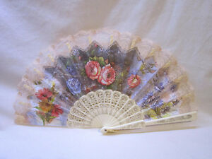 Lovely Hand Held - Lace Fan - with French Ivory(Plastic)