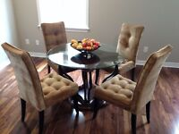 Bombay Dining Table Set - Solid wood Base, Glass Top & 4 Chairs