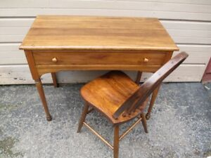 antique pine desk and chair