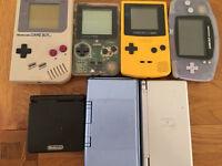 Nintendo handheld consoles (gameboys, gb, gbc, gba, ds)