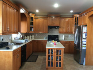 Good condition maple cabinets and countertops