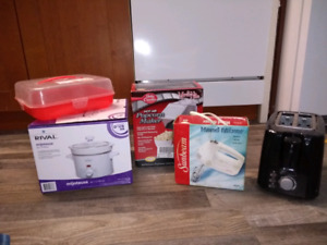 Assorted kitchen appliances, new & used