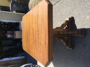 Solid Dining Table For sale, 6-seater, with glass top
