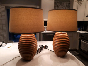 Pair of unique, high quality designer table lamps by Henredon