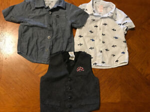 Boys 12 month shirts and vest