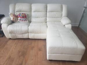 divan de salon en cuir inclinable