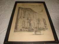 Lithographs of Guelph City Hall and Wellington Jail Vintage