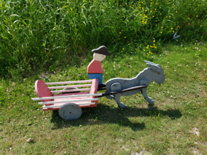 Vintage Wood Donkey Cart Lawn Ornament Great for Fall Display