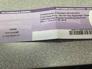 One day admission to Canada's Wonderland