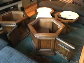 Beautiful Italian marble and Oak tables for sale