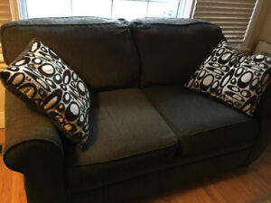 Couch & loveseat, dark olive green, $200 or best offer