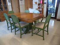 Antique maple dining table & 6 chairs, with display cabinet