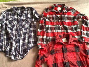 Plaid shirts size medium and small