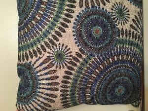 2 like new blue and green multicolored throw pillows