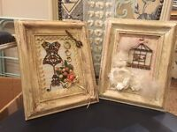 Hand made art 3D pictures vintage shabby chic