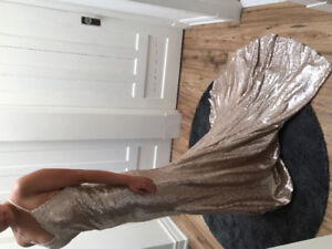 Brand New Rose Gold Sequin Prom Dress