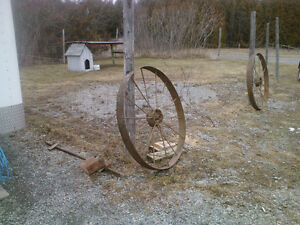 2 Large Wagon Wheels and Axle for sale