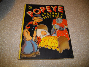 """POPEYE BORROWS A BABY NURSE "" COMIC COLORING BOOK 1937 ART DECO"