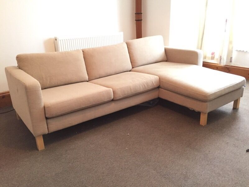 Ikea karlstad 3 seater chaise sofa matching footstool for Daybed cushion ikea