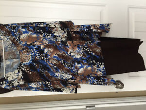Dress shirt and 2 pair pants one black one brown