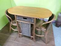 Compact Table & 2 Chairs With Wicker Detail - Can Deliver For £19