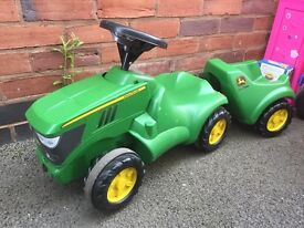 John Deere ride along tractor and trailer