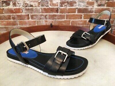 Isaac Mizrahi Soho Black Leather Pamela Ankle Strap Sandal NEW