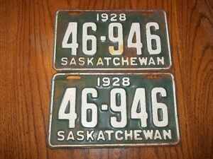 For Sale A Set Of 1928 Saskatchewan 46-946 Licence Plates