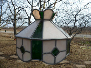 Lead Stain Stained Glass Hanging Chain Lamp Light Green