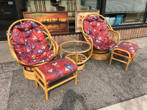 Set Of Rattan swivel  lounge chairs footstools side table
