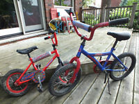 2 Blue and Red Children's Bikes