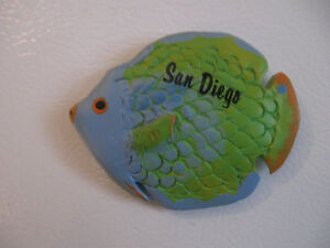 "TWO ""SAN DIEGO"" COLOURFUL CERAMIC FRIDGE DOOR MAGNETS"