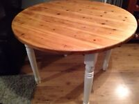 Lovely solid wood table with cream painted Farrow and Ball legs