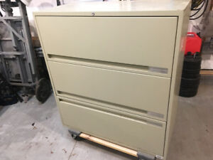 Three drawer horizontal file cabinet