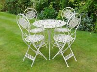 Garden Table and Chairs Antique Cream or Green Colour