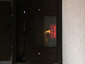 Solid wood electric fireplace unit