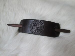 Stamped leather and wood hairpin, brown