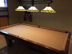 Pool table, light, rack and accessories