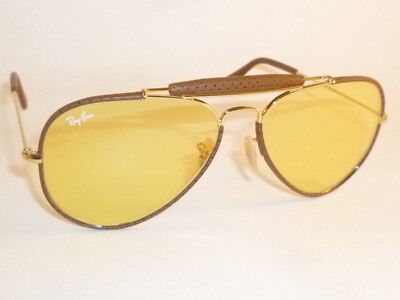 RAY BAN Aviator Outdoorsman Brown Leather  RB 3422Q 9042/4A Yellow Ambermatic   (Ray Ban Leather Sunglasses)