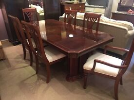 Italian Style Mahogany Extending Dining Table + 6 Chairs - UK Delivery